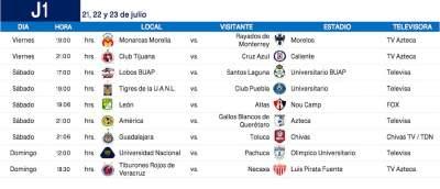 Dan a conocer calendario de la Liga MX Apertura 2017