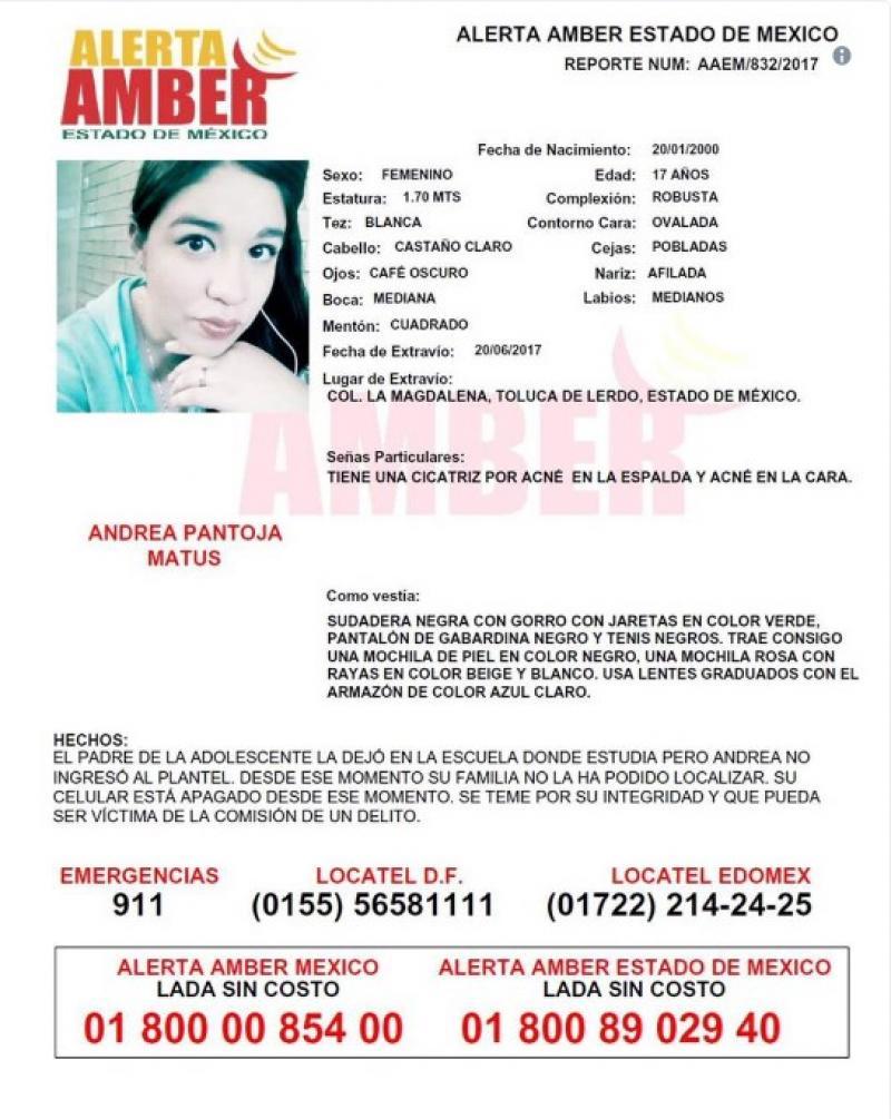Alerta Amber: Ayuda a Andrea Pantoja a volver a casa