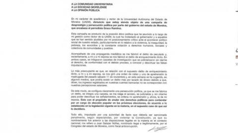 """""""No he robado nada"""", dice rector de la UAEM en carta"""