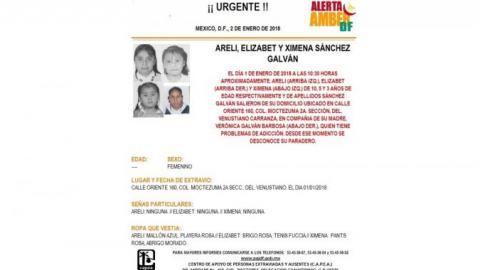 Activan Alerta Ámber por 3 hermanas desaparecidas en CDMX