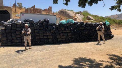 Incautan dos toneladas de marihuana en Tecate