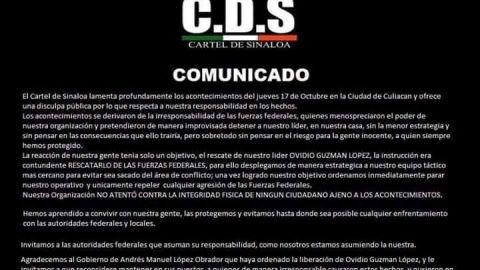 Pide Cártel de Sinaloa disculpas ciudadanos de Culiacán