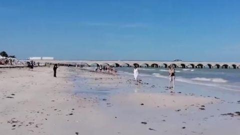 Mar se aleja 40 metros en puerto Progreso, Yucatán
