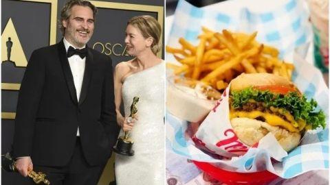 FOTO: Joaquin Phoenix celebra su Oscar con hamburguesa vegana
