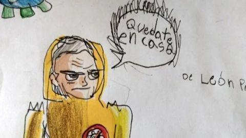 Niño dibuja a López-Gatell como súper héroe y se vuelve viral