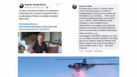 Senador Gerardo Novelo pide sana distancia y su hija festejó con 35 invitados