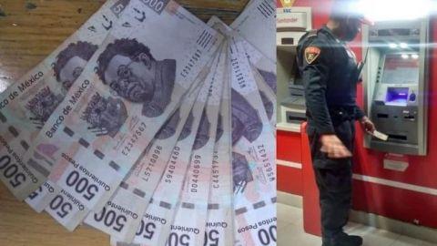 👮♂¡Héroe! Policía devuelve varios billetes de 500 que halló en un cajero