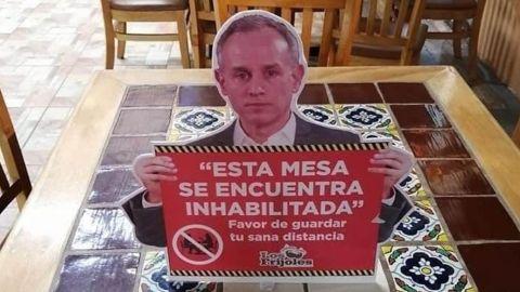 Restaurante en Monterrey utiliza la imagen de Gatell para sus señalamientos