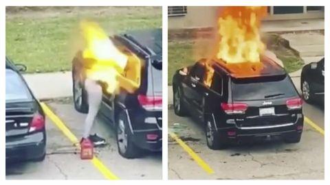 🎥 VIDEO: Mujer quema 🔥 vehículo y este le explota en la cara