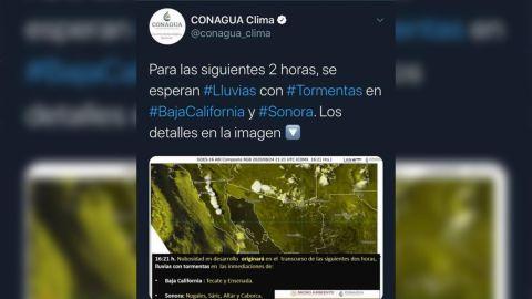 Lluvia en Baja California y Sonora en las próximas horas: Conagua