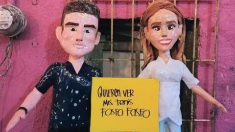 En Reynosa crean piñatas de Mariana Rodríguez y Samuel García