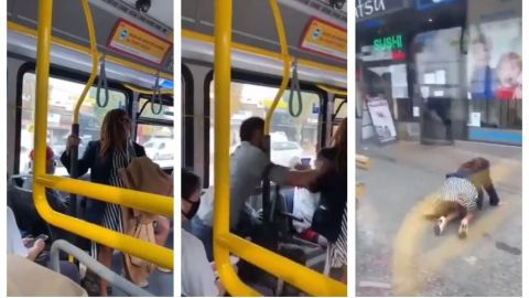 VIDEO: Por escupirle en la cara a un joven, la empujan de camión 😱