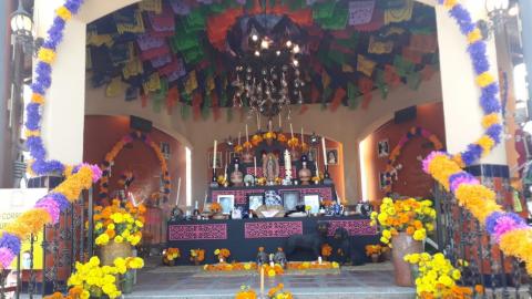 Colocan altar de muertos en Mercado Hidalgo