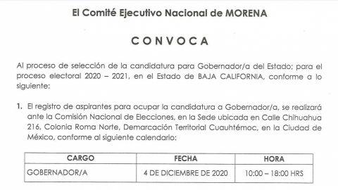 Emite Morena convocatoria para registro de candidatos