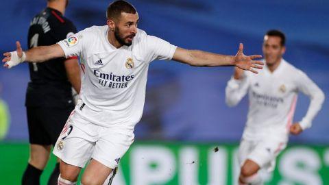 Con doblete de Benzema, Real Madrid derrotó al Bilbao y se subió a la cima