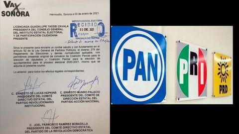 Registran PRI-PAN-PRD alianza ''Va Por Sonora''