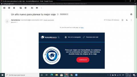 Aun en quiebra, Aeroméxico sigue promocionándose vía Correo electrónico