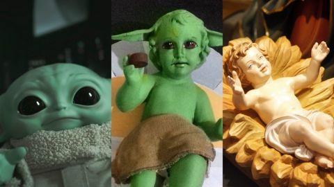 Artista recrea Niño Dios en una combinación con Baby Yoda
