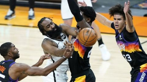 Harden anota 38 puntos, los Nets remontan y vencen a Suns