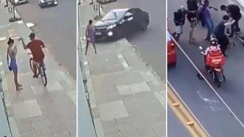 VIDEO: Roba celular de una mujer y termina atropellado por el novio de ella