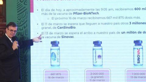 Logra México ampliar a 22 millones de dosis vacuna de Sinovac: Ebrard