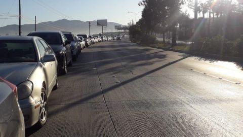 Situación vehicular en los dos sitios de vacunación de Tijuana