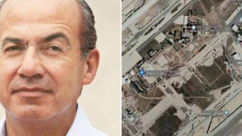 Google Maps llama al aeropuerto de Santa Lucía como ''Felipe Calderón Hinojosa''