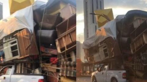 Captan inusual mudanza en una camioneta; video se hace viral