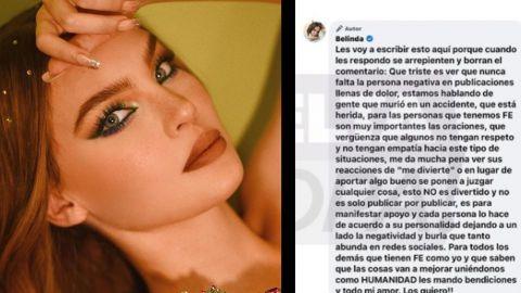 Belinda 'explota' contra haters; la critican por hablar de la tragedia del metro