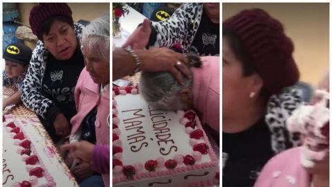 Empujan a abuelita contra su pastel de Día de las Madres y usuarios enfurecen