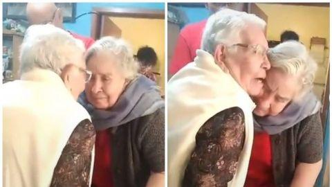 Hermanas de más de 90 años se reencuentran por primera vez en pandemia