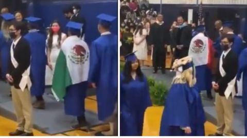 Escuela en EU le niega diploma a alumno por portar la bandera de México