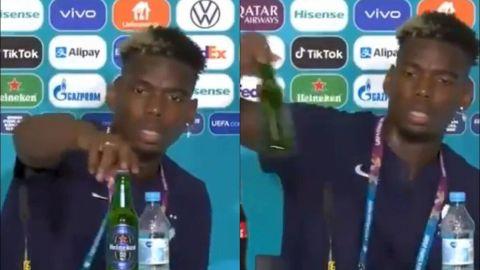 Paul Pogba imita a Cristiano Ronaldo y retira una cerveza en plena conferencia