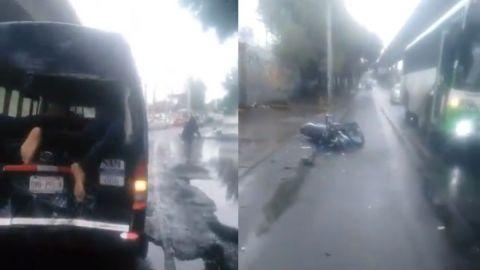 🎥 Motociclista sale proyectado tras choque y se ''clava'' en combi