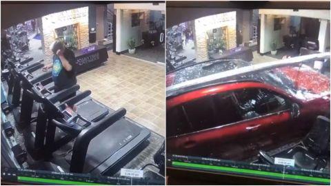 (VIDEO) Realizaba ejercicio en una caminadora y un auto lo embiste brutalmente
