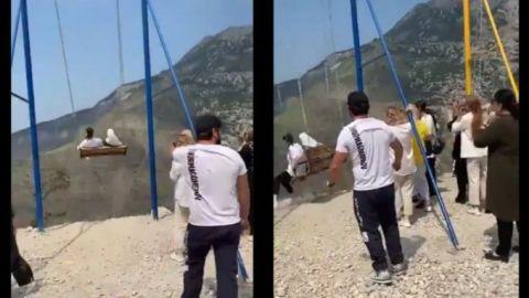 🎥 Mujeres caen de columpio turístico a 1,920 metros de altura en un barranco
