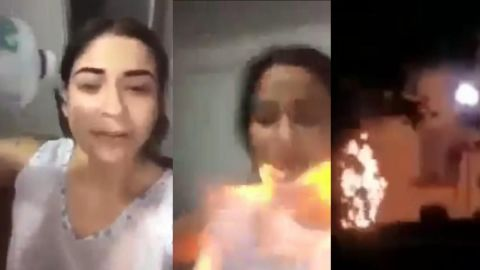 🎥 No pudo con la culpa: Mujer se bañó en gasolina y se prendió fuego por infiel