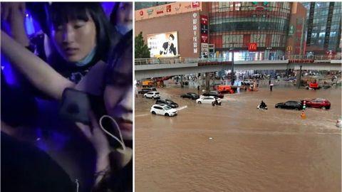 Captan en video a pasajeros del Metro atrapados por inundaciones en China