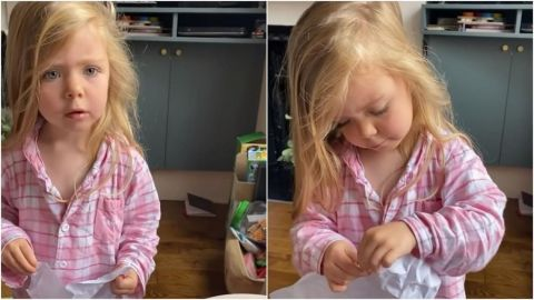 ''Esto no está bien'': Niña descubre en la basura el regalo que le dio a su mamá