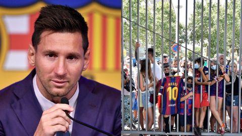 Aficionados del Barcelona se reunieron para despedir a Messi