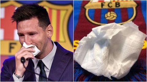 Subastan pañuelo que Messi utilizó en su despedida del Barcelona