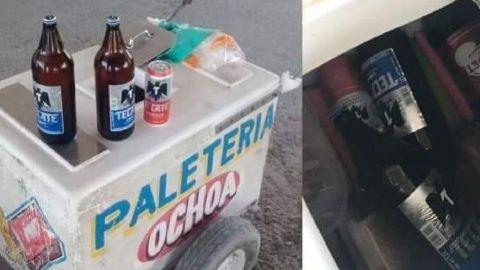 Captan a hombre con 'caguamas' escondidas en carrito de paletas en Coahuila