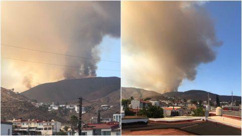 Combaten fuerte incendio en cañón de Ensenada