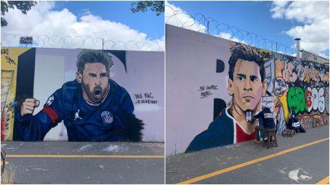 París se inunda con murales de Lionel Messi