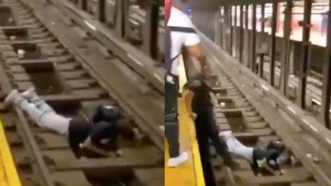 🎥 ¡De película! Policía salva a hombre de ser aplastado por el metro