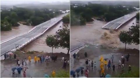 VIDEO: Así se desplomó este puente en Sinaloa tras paso de 'Nora'