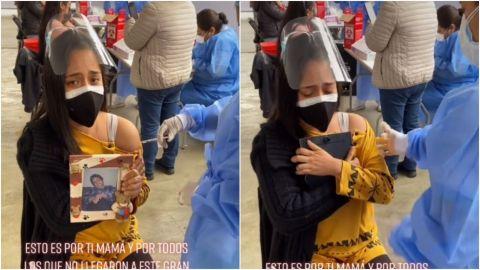 Joven llora al vacunarse; lleva foto de su madre que murió por covid-19