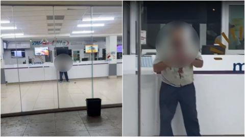 ⚠ FUERTES IMÁGENES🔞: Intenta degollarse en estación de autobuses de Mexicali