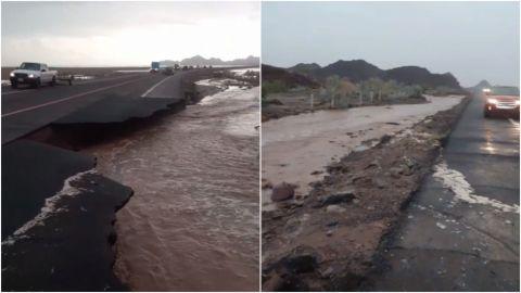 Se caen pedazos de la carretera Mexicali - San Felipe tras deslave