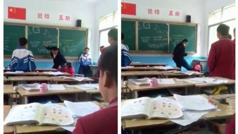 VIDEO: Maestro chino enfurecido golpea a pequeño alumno con vara de metal